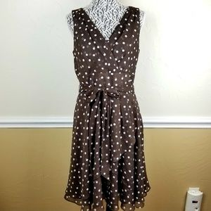 WHBM Brown Polka-Dot Dress Sz 12